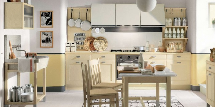 stunning-kitchen-cabinet-with-simple-table-appliances-and-dining-table-and-hanging-portrait