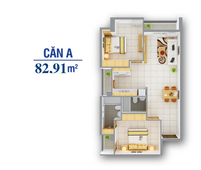Cắn hộ 8x plus căn hộ 3 phòng ngủ loại A