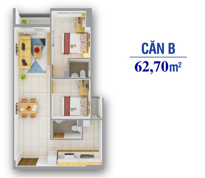 Că Hộ 8x Plus loại B, 2 phòng ngủ