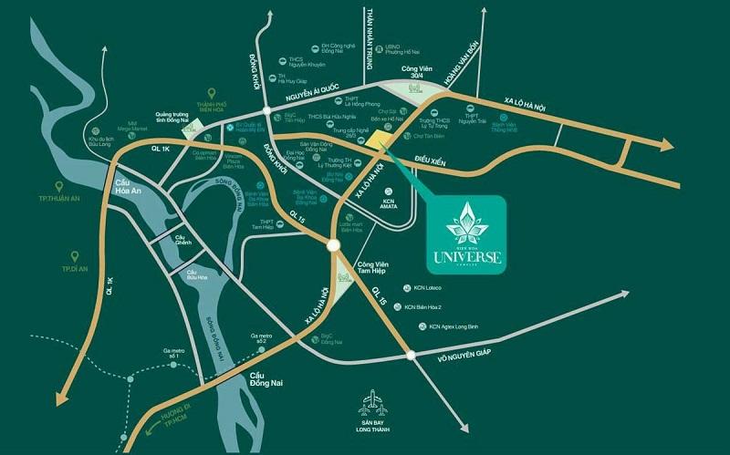 Biên Hòa Universe Compex tọa lạc tại vị trí đắt giá nhất thành phố