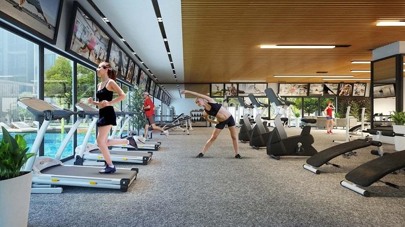 Khu phòng Gym hiện đại, sang trọng với hệ thống trang thiết bị tân tiến nhất