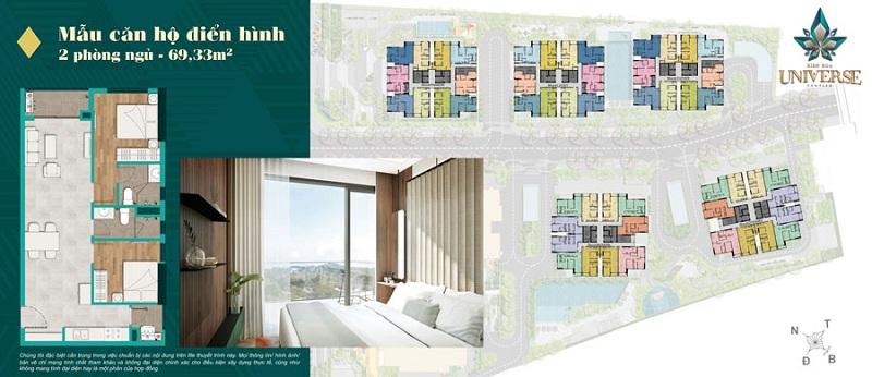 Mặt bằng chi tiết mẫu căn hộ 2 phòng ngủ khác trong dự án