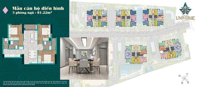Mặt bằng chi tiết mẫu căn hộ 3 phòng ngủ trong dự án