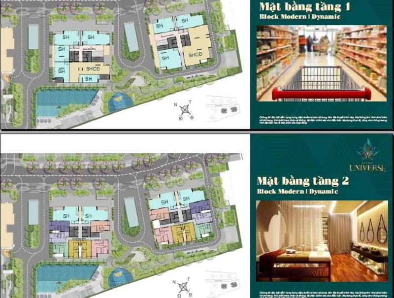 Mặt bằng tầng 1 và 2 các tòa chung cư