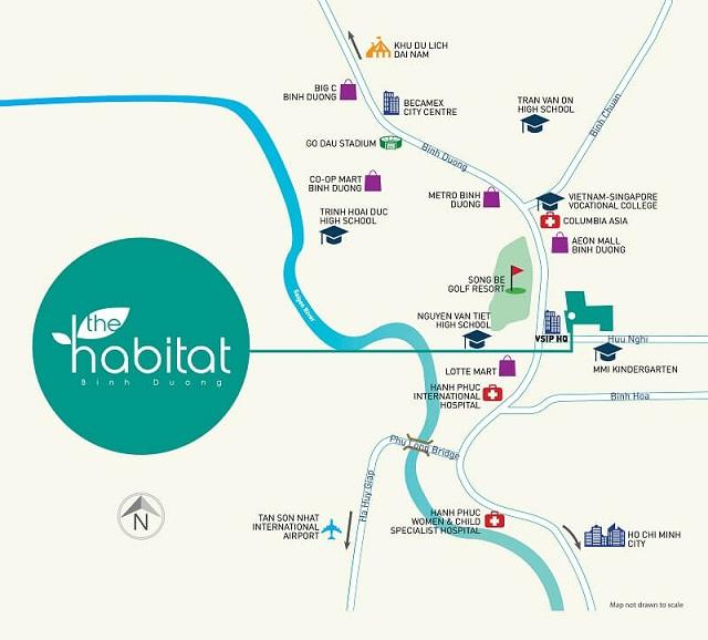 Dự án Habitat được xây dựng tại vị trí đẹp, thuận lợi di chuyển