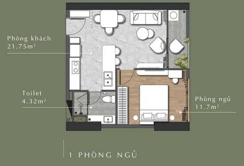 Mặt bằng căn hộ 1 phòng ngủ Lavita Thuận An