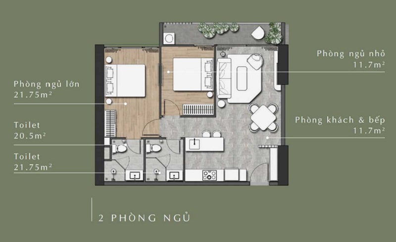 Mặt bằng căn hộ 2 phòng ngủ Lavita Thuận An