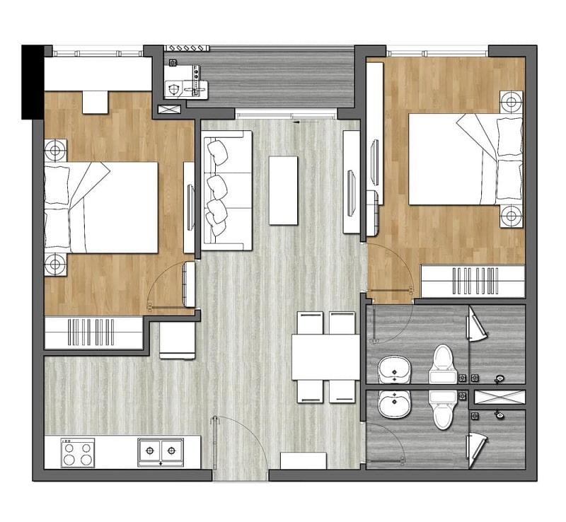 Chi tiết mẫu mặt bằng căn hộ 2 phòng ngủ tiêu chuẩn trong dự án Richmond Quy Nhơn