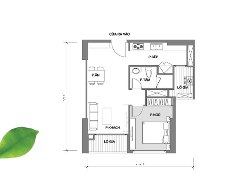 Mặt bằng tiêu biểu cho mẫu căn hộ 1 phòng ngủ bố trí trong dự án