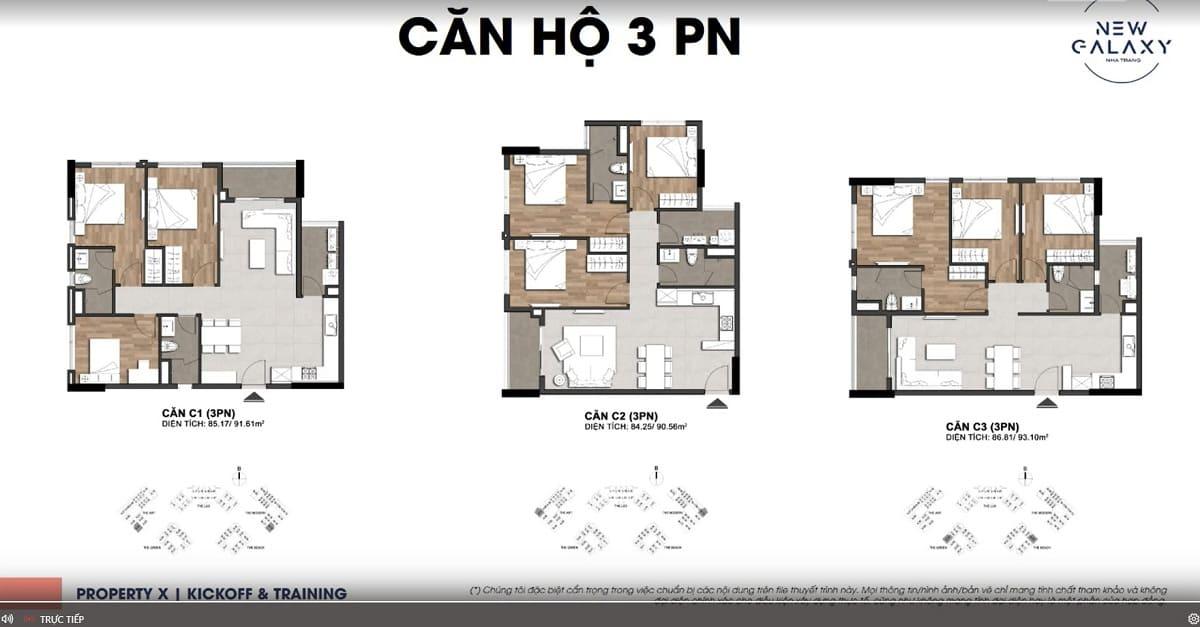 Layout thiết kế mẫu căn 3 phòng ngủ