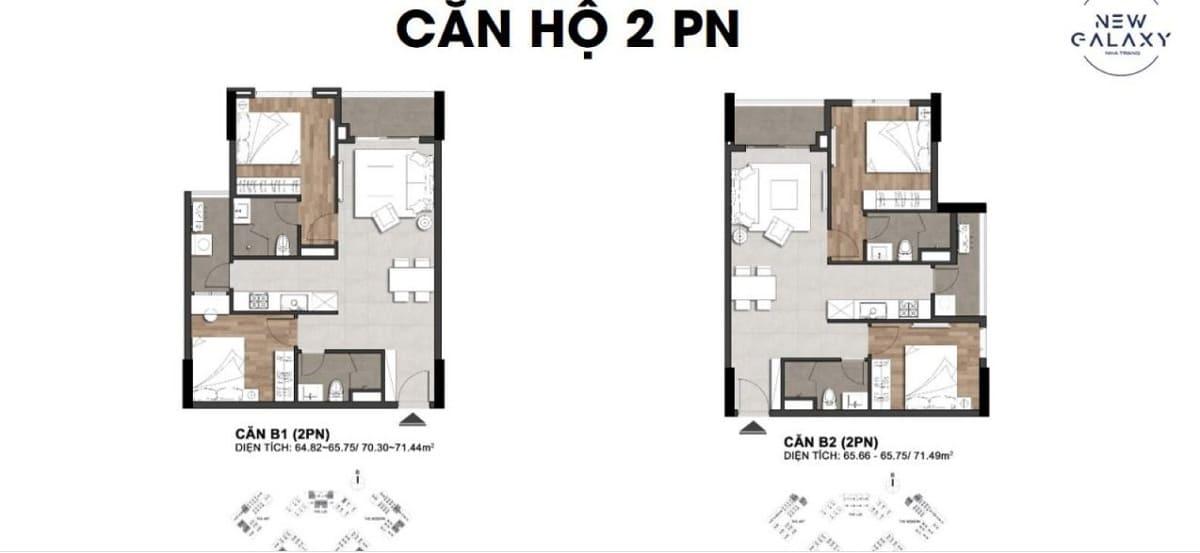Layout thiết kế mẫu căn hộ 2 phòng ngủ tại dự án